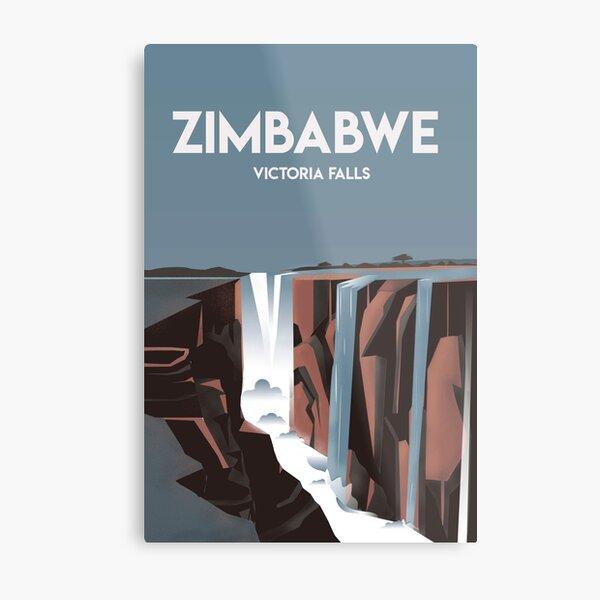 Zimbabwe victoria falls  | Vintage Travel Poster |Zimbabwe poster | City poster  Metal Print