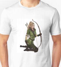 Blonde Female Elf Archer, Kneeling T-Shirt