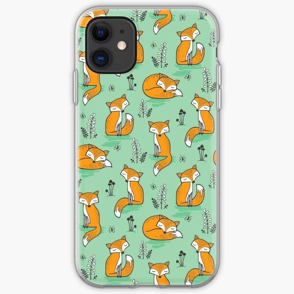 Dreamy Fox in Green iPhone Soft Case