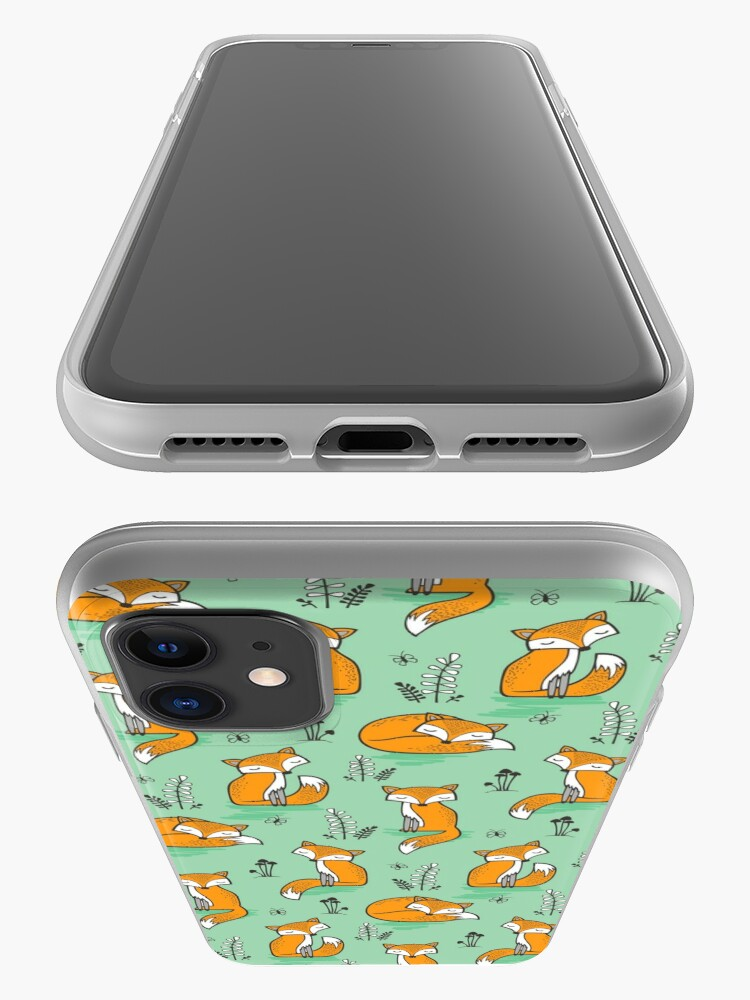Alternate view of Dreamy Fox in Green iPhone Case & Cover
