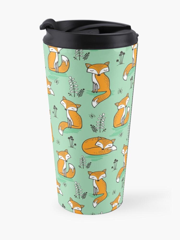 Alternate view of Dreamy Fox in Green Travel Mug