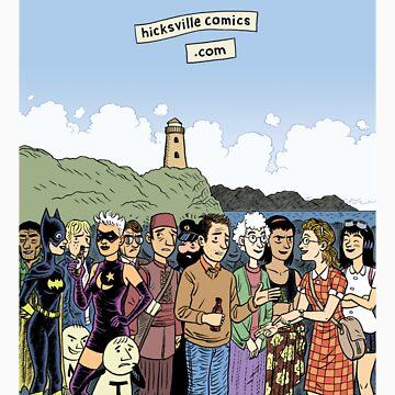 Hicksville Comics Beach Party by dylanhorrocks