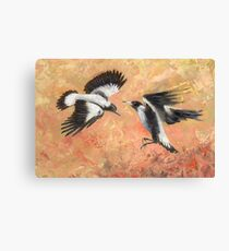 Squabbling Magpies oil painting _ art print version Canvas Print