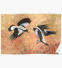 Squabbling Magpies oil painting _ art print version Poster