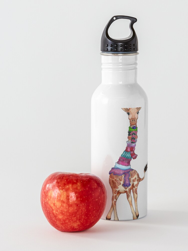 Alternate view of Cold Outside - Cute Giraffe Illustration Water Bottle