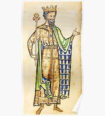 Medieval Edward I king of England illustration Poster