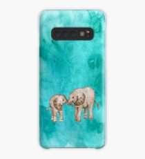 Baby Elephant Love - sepia on teal watercolour Case/Skin for Samsung Galaxy