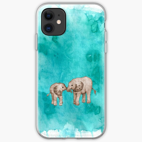 Baby Elephant Love - sepia on teal watercolour iPhone Soft Case