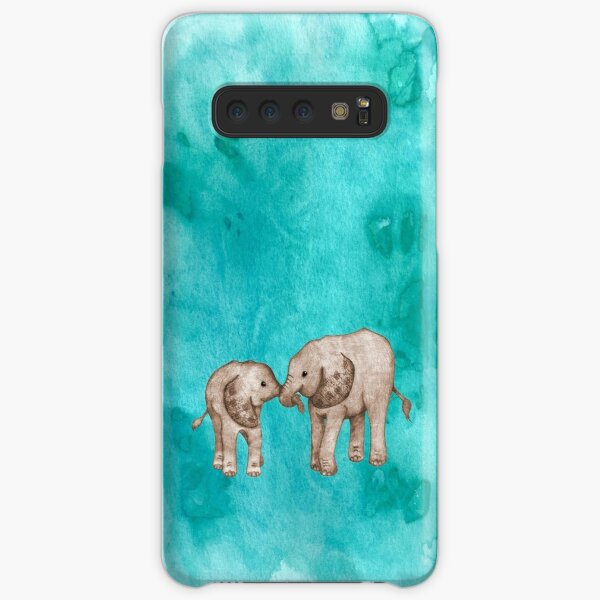 Baby Elephant Love - sepia on teal watercolour Samsung Galaxy Snap Case