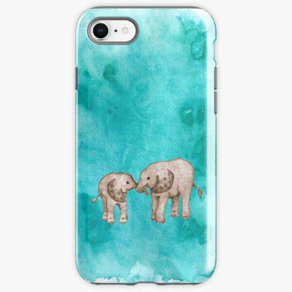 Baby Elephant Love - sepia on teal watercolour iPhone Tough Case