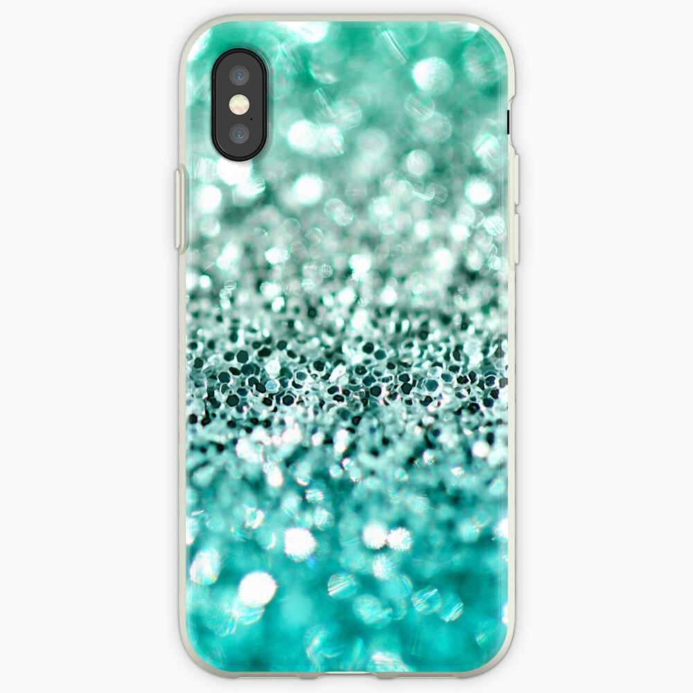 Aqua Glitter Funda y vinilo para iPhone