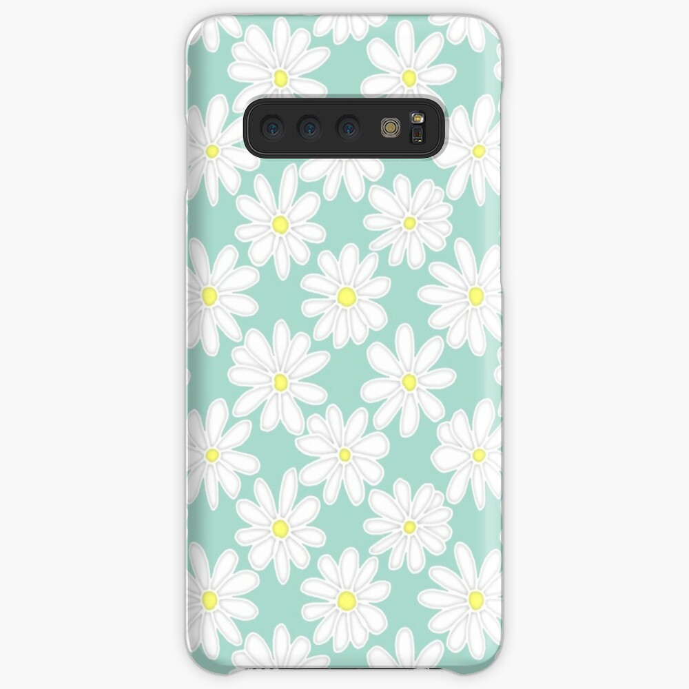 Bright Happy Daisies on Mint Case & Skin for Samsung Galaxy