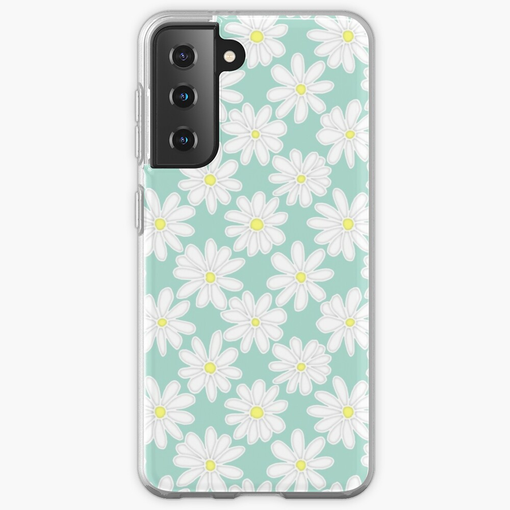 Bright Happy Daisies on Mint Samsung Galaxy Phone Case