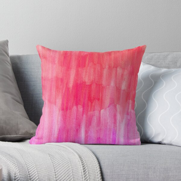 Hot Pink, Melon & Magenta Watercolor Abstract Throw Pillow
