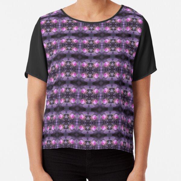 Old fashioned pink rose, purple texture pattern Chiffon Top
