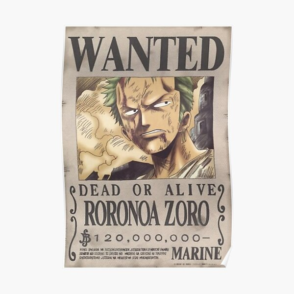 Zoro first wanted poster Poster