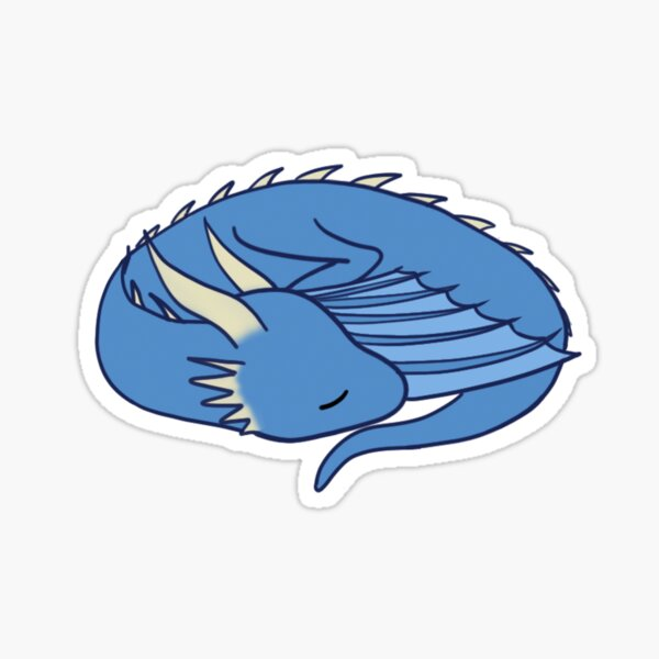 Sleeping blue dragon Sticker