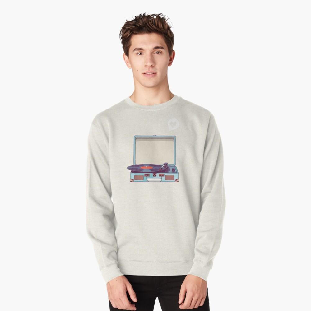 Blue Vinyl Record Player Pullover Sweatshirt