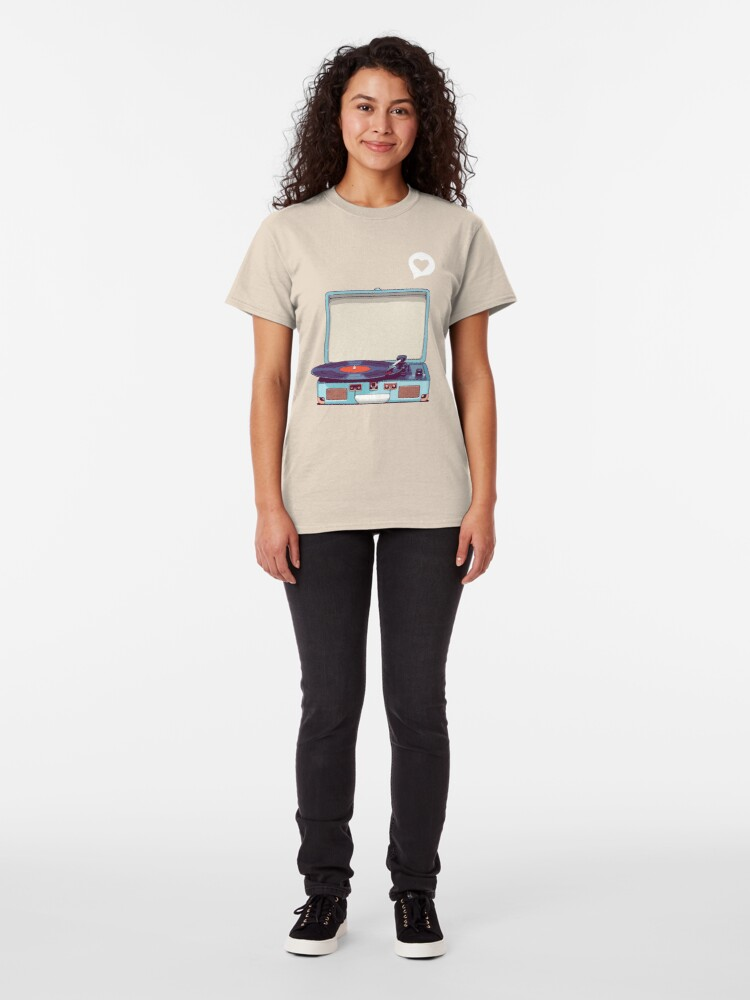 Alternate view of Blue Vinyl Record Player Classic T-Shirt