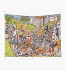 English vs French Medieval Battle Mural Wall Tapestry