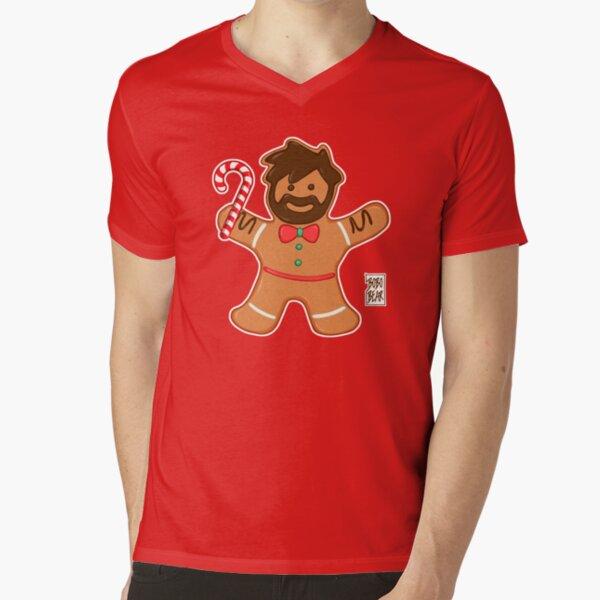 GINGERBREAD BEAR V-Neck T-Shirt