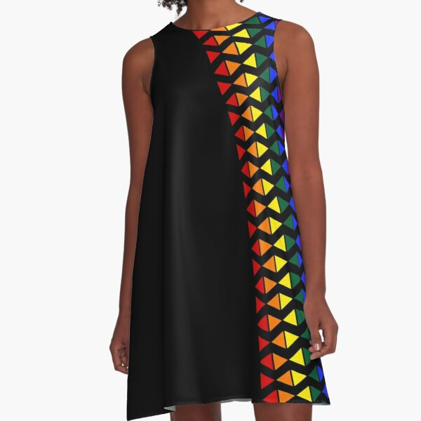 Vertical Band of Pride Triangles A-Line Dress