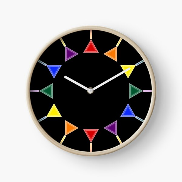 Vertical Band of Pride Triangles Clock