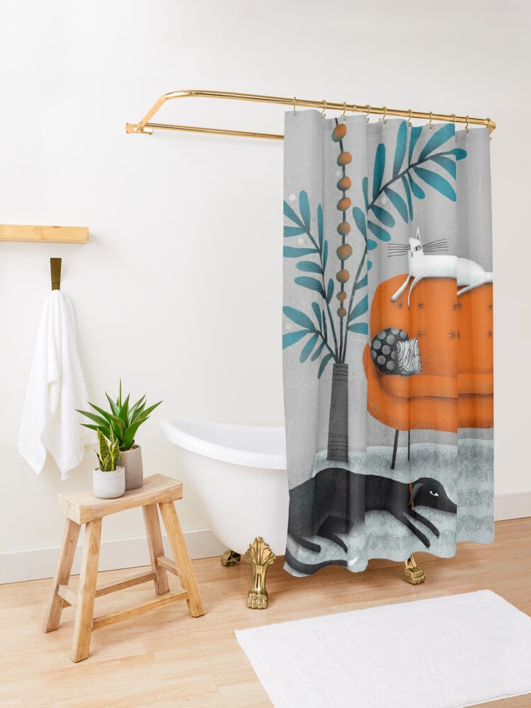 Alternate view of ORANGE SOFA Shower Curtain