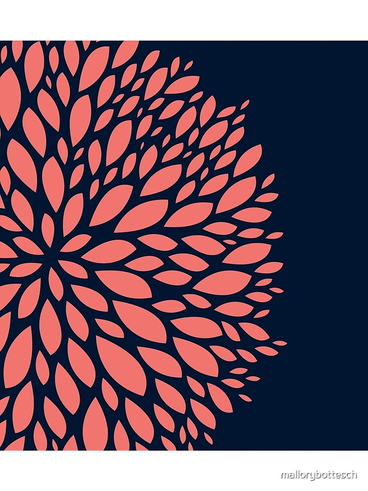 Navy Blue and Coral Flower Design by mallorybottesch