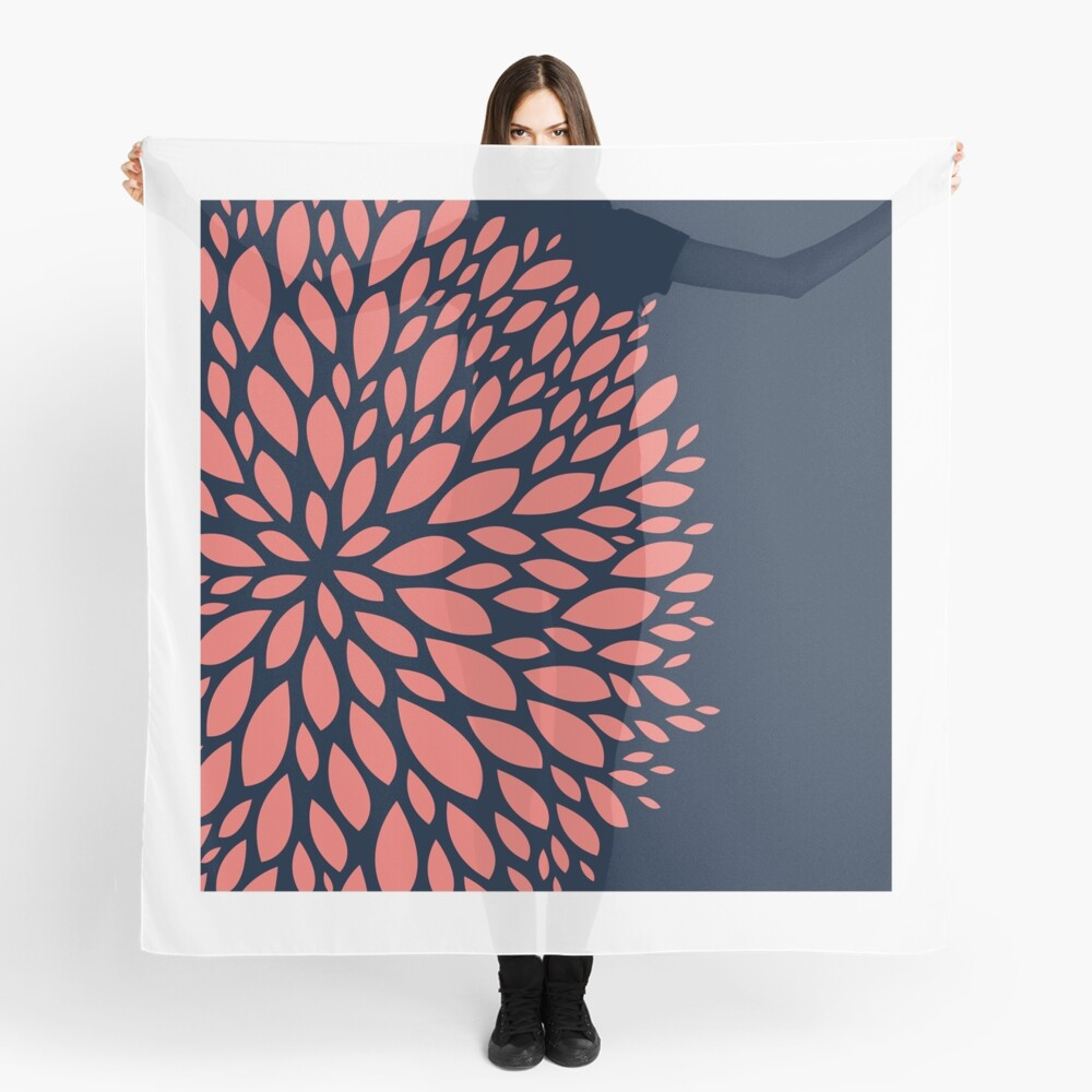 Navy Blue and Coral Flower Design Scarf