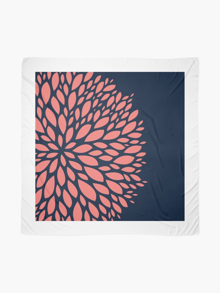 Alternate view of Navy Blue and Coral Flower Design Scarf