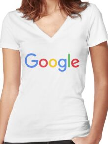 New Google Logo Women's Fitted V-Neck T-Shirt