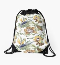 Jungle Animal Print Orchids Drawstring Bag