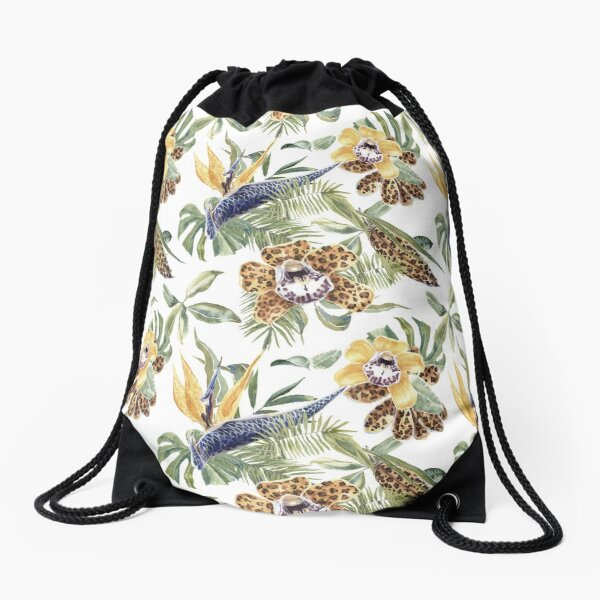 Jungle Animal Print Orchids Drawstring Bag