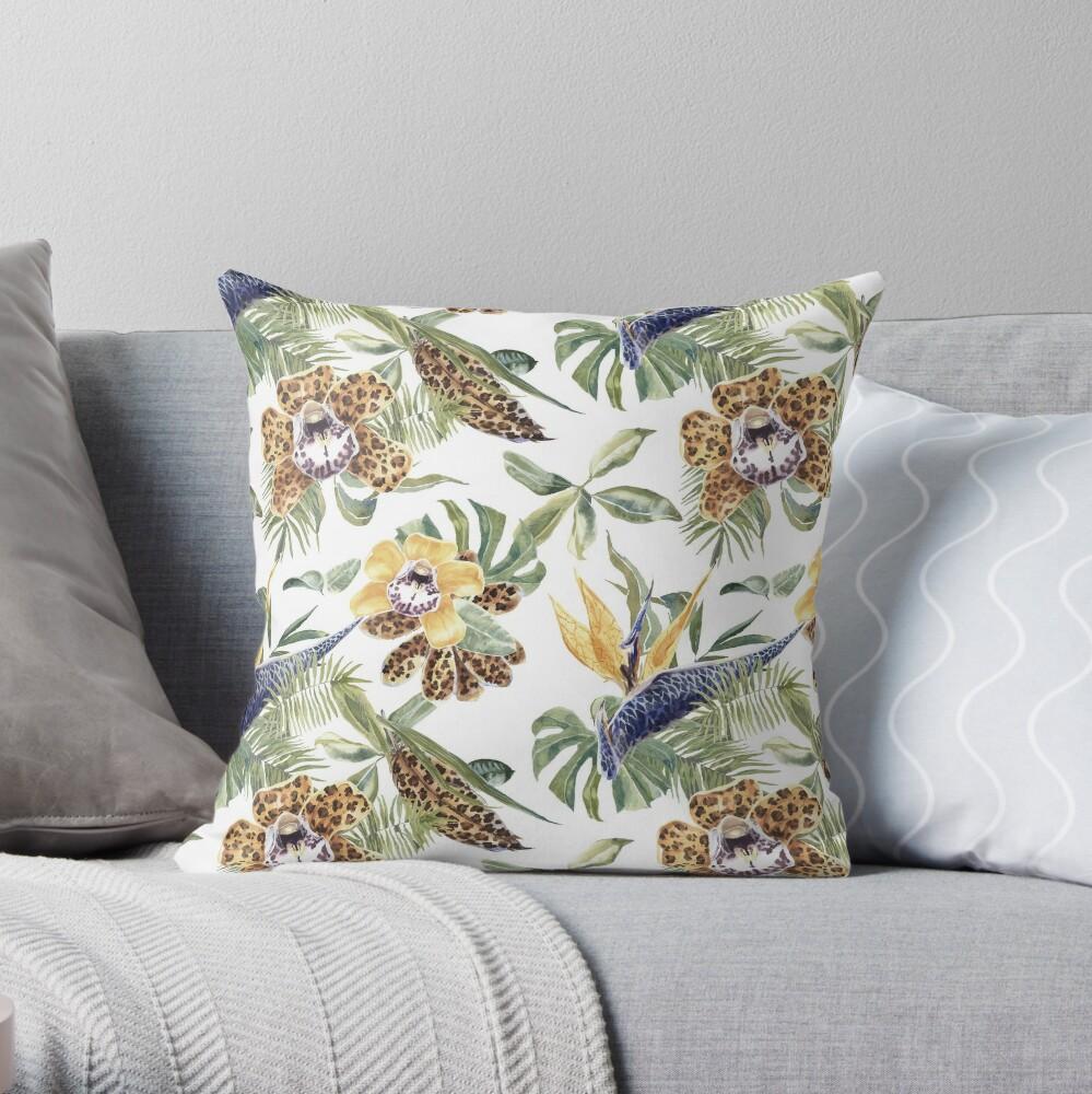 Jungle Animal Print Orchids Throw Pillow