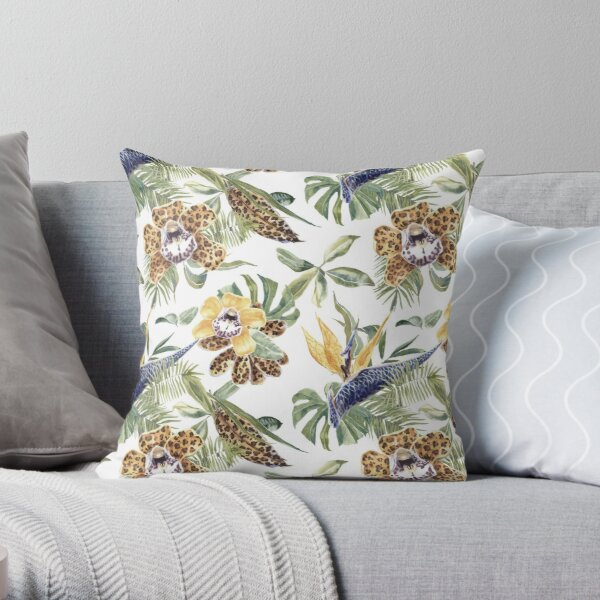 Jungle Animal Print Orchids Throw Pillow