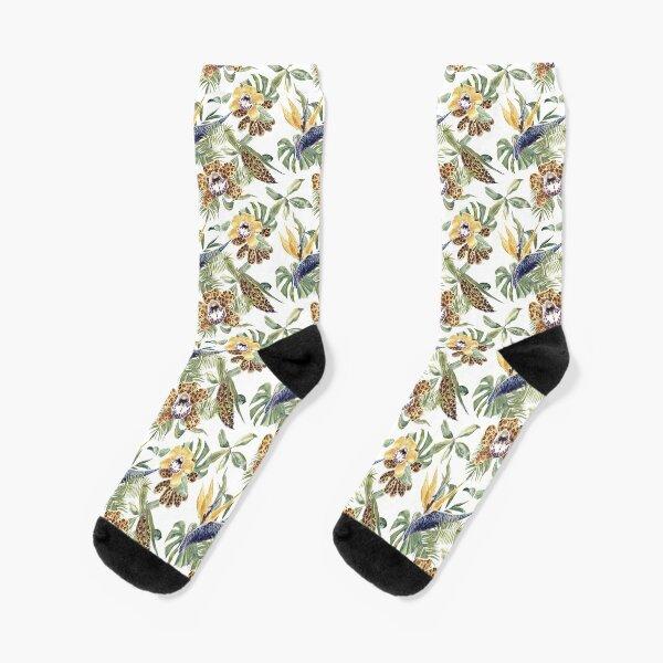 Jungle Animal Print Orchids Socks