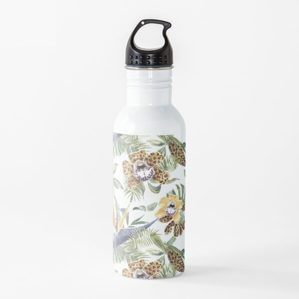 Jungle Animal Print Orchids Water Bottle