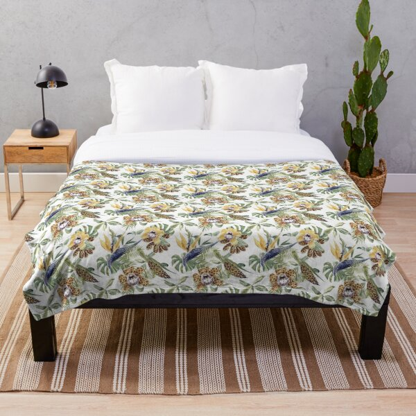 Jungle Animal Print Orchids Throw Blanket