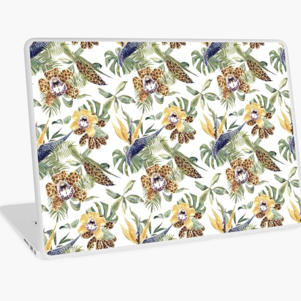 Jungle Animal Print Orchids Laptop Skin