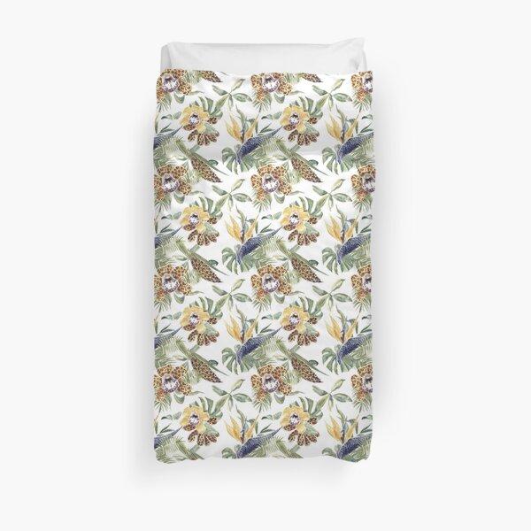 Jungle Animal Print Orchids Duvet Cover