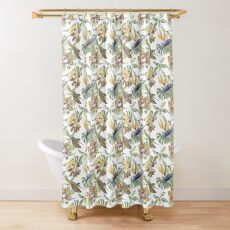 Jungle Animal Print Orchids Shower Curtain