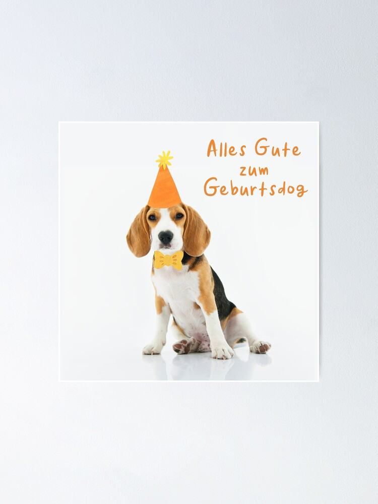 Funny German Beagle Dog Birthday Wishes Cute Happy Birthday Geburtstag Pun For Beagle Lovers Orange Script Lettering Alles Gute Zum Poster By Kierkegaard Redbubble