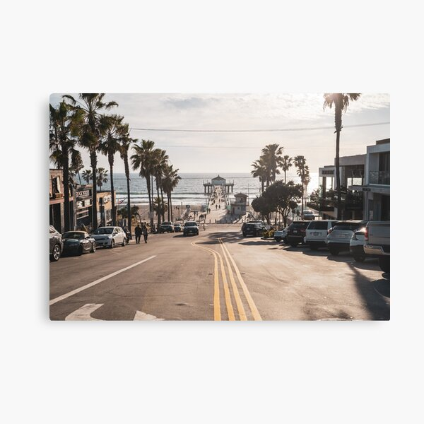 View of the Manhattan Beach Pier as seen from downtown, in the late afternoon sunshine Canvas Print