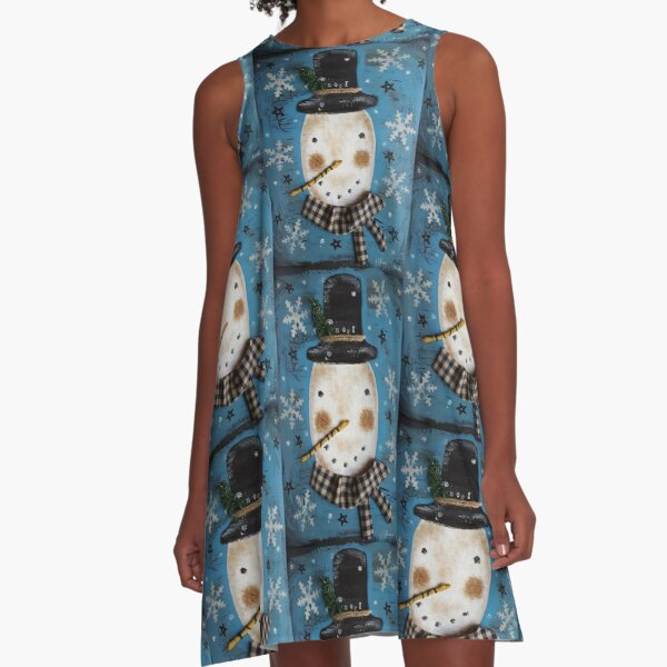 Frosty Primitive Snowman  A-Line Dress