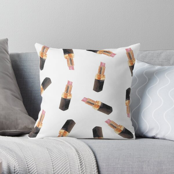 Lipstick No.1 | Watercolor Designer Pattern—Fashion/Style/Pretty/Hipster/Trendy Throw Pillow