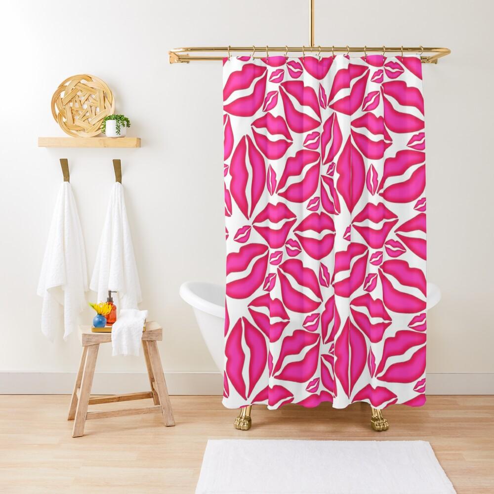 Pink Lips Pattern Shower Curtain