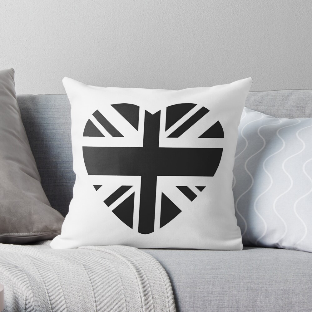 British Patriot Flag Series (Black Heart) Throw Pillow