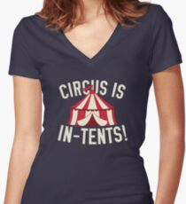 Circus Is In-Tents! Women's Fitted V-Neck T-Shirt