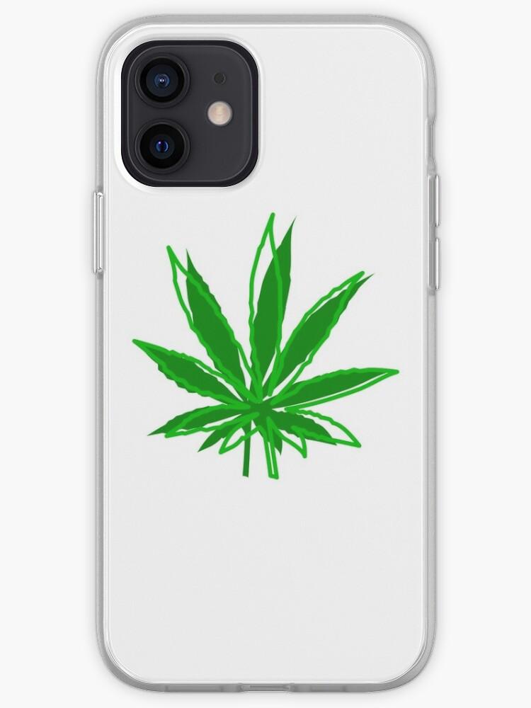 Feuille de cannabis abstraite   Coque iPhone